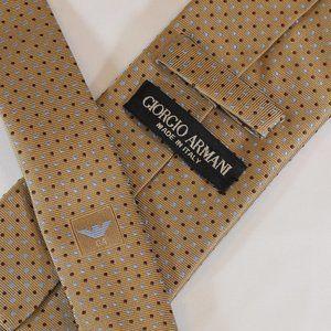 Giorgio Armani Tie Tan w Brown & Blue Dots